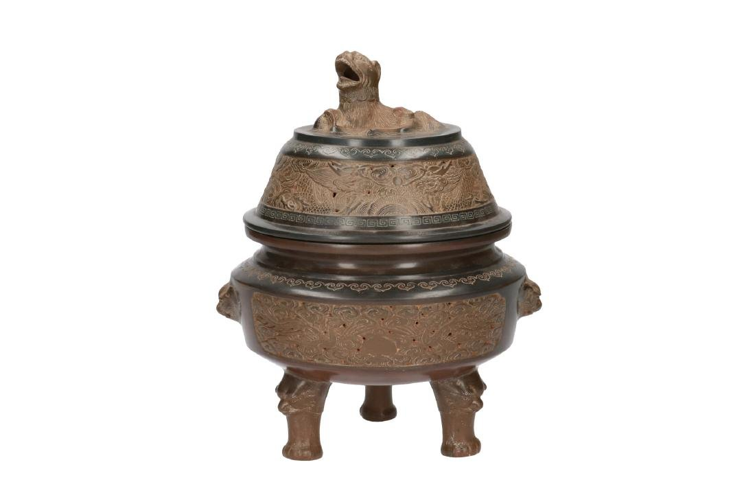A ceramic censer with lid, decorated with Fo-dog and