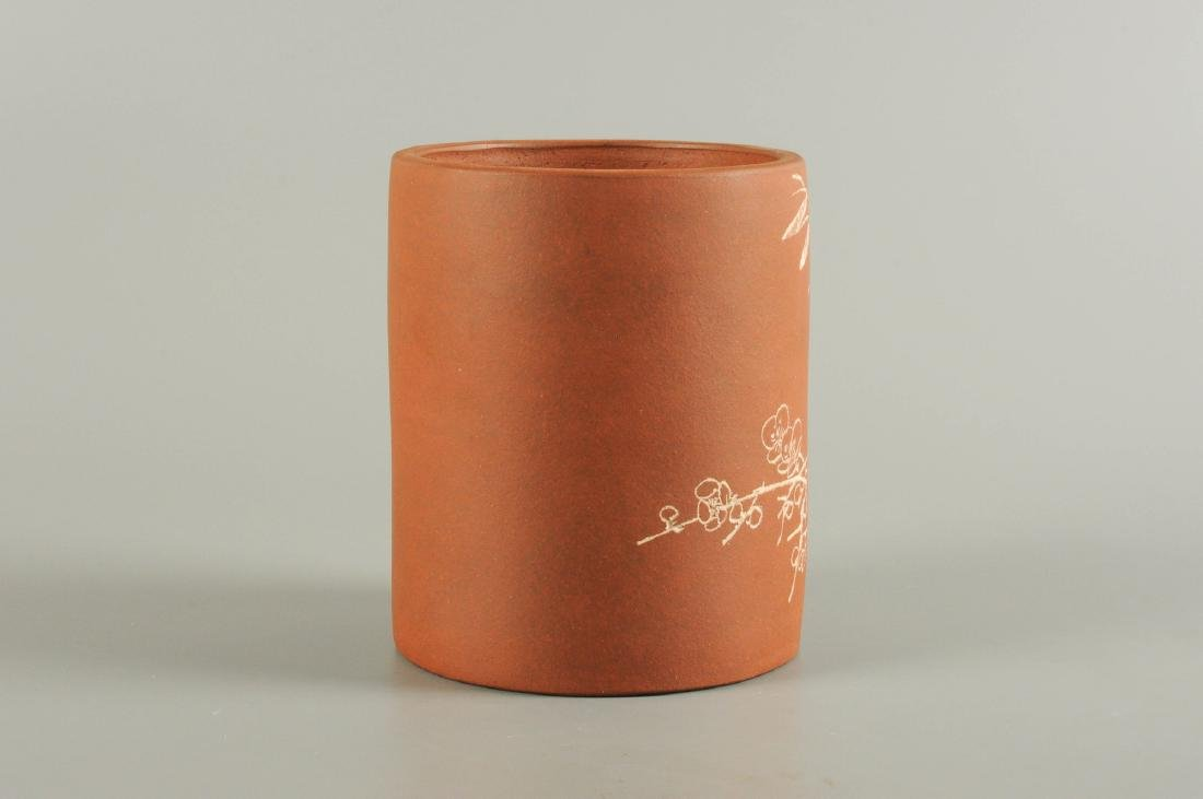 A Yixing brush pot with floral decor. Unmarked. China, - 5