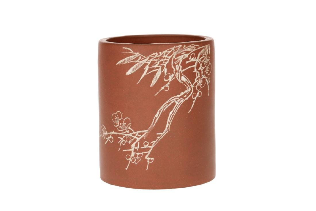 A Yixing brush pot with floral decor. Unmarked. China, - 6