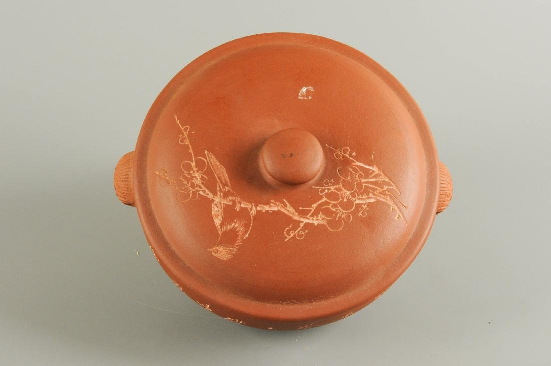 A Yixing bowl and cover, decorated with characters and
