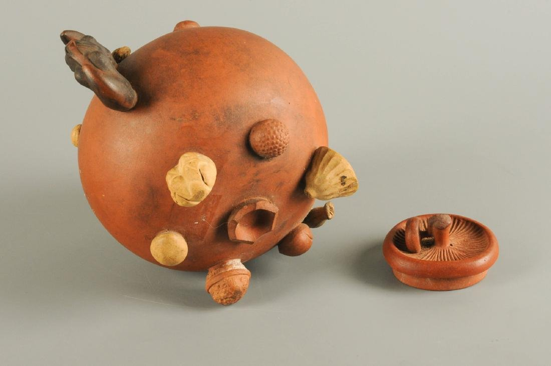 A Yixing teapot, decorated in relief with peanuts and - 3
