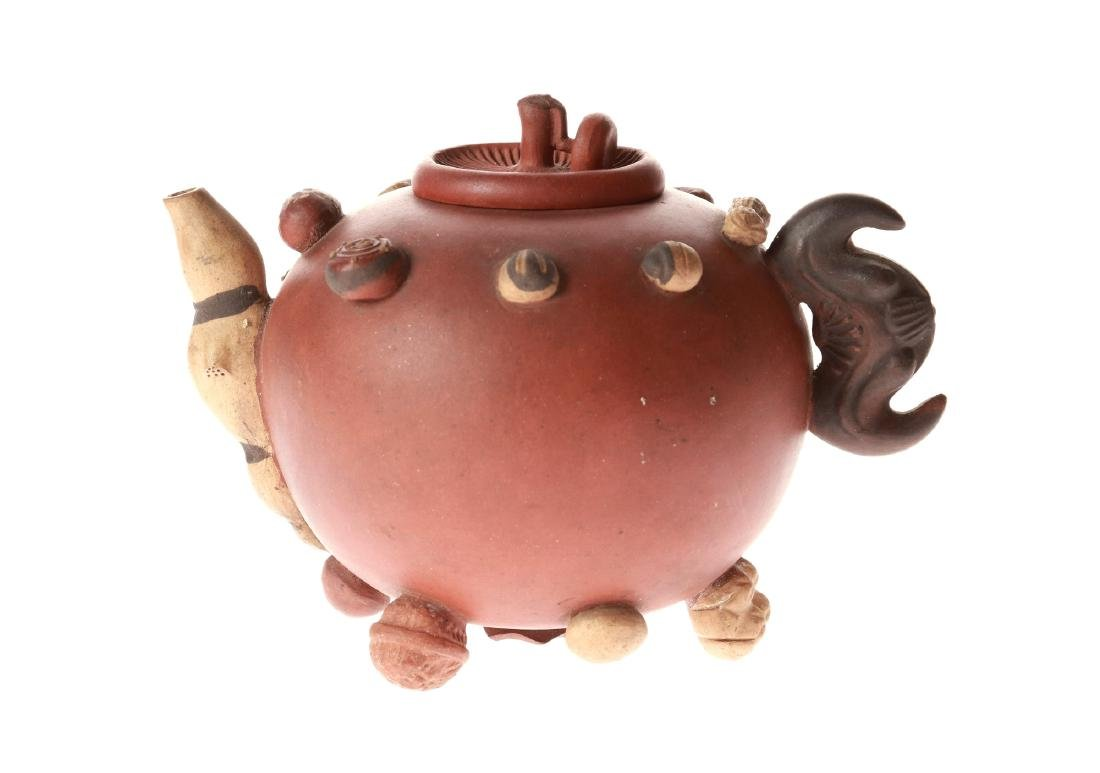 A Yixing teapot, decorated in relief with peanuts and - 7