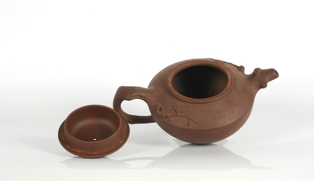 A Yixing teapot with a decor of branches and - 2