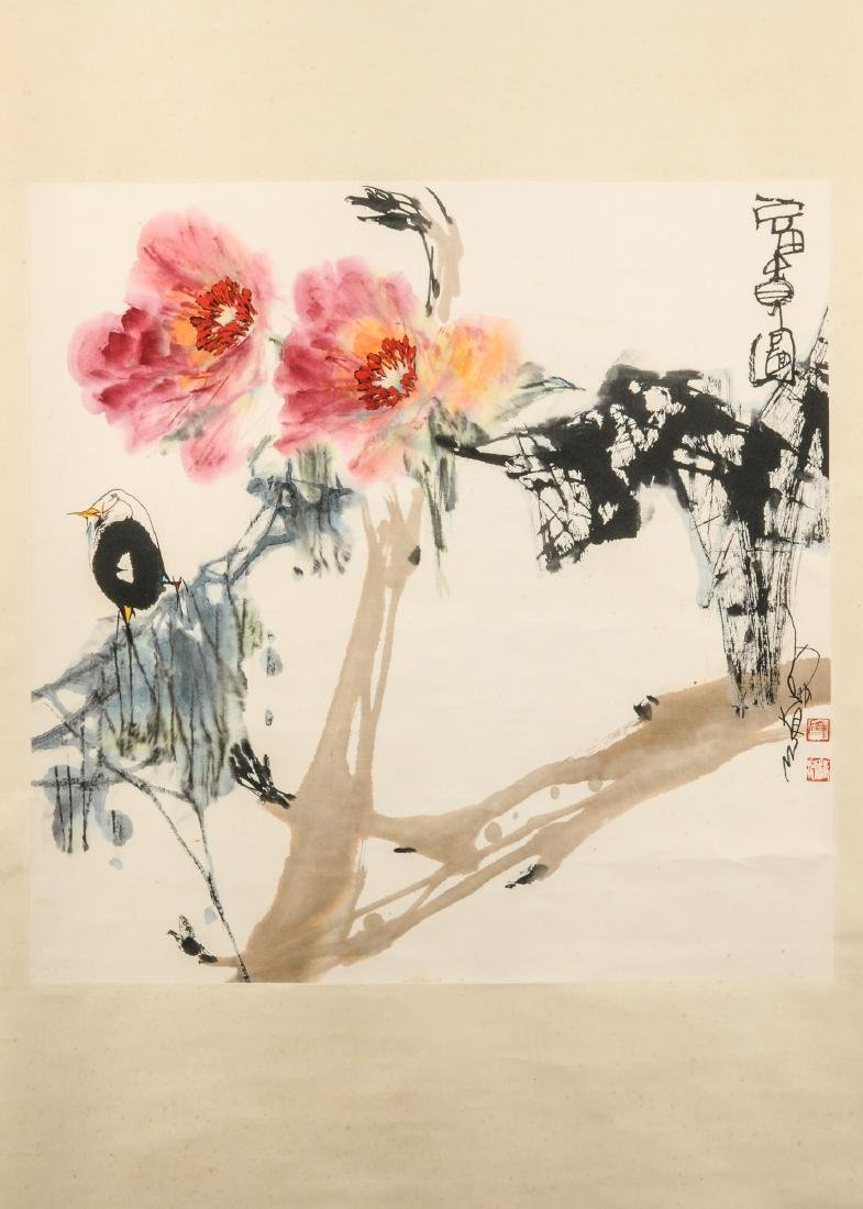 A scroll depicting flowers and a bird. Characters and