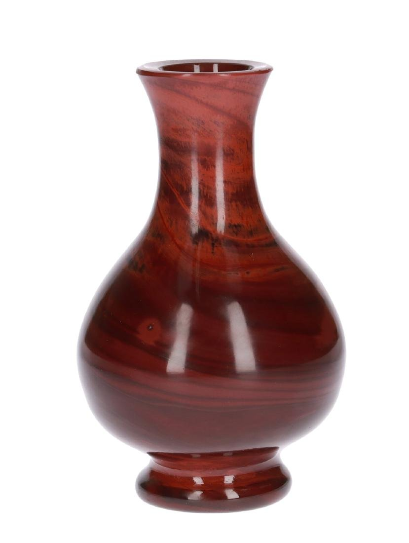 A red marble toned Peking-glass vase. Unmarked. China, - 4
