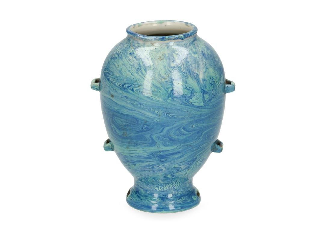 A blue marble glazed porcelain jar. Marked with seal