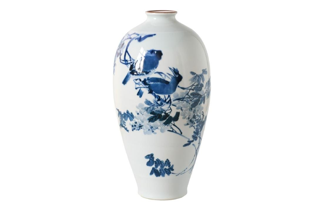 A blue and white porcelain Meiping vase, decorated with