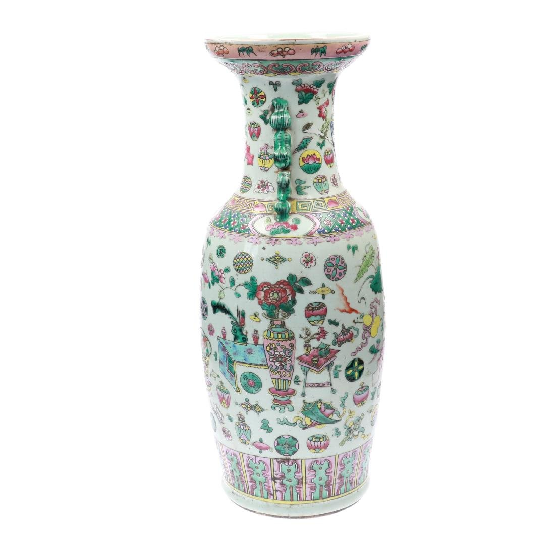 A polychrome porcelain vase, decorated with