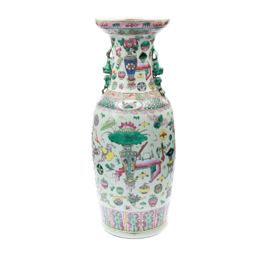A polychrome porcelain vase, decorated with - 2