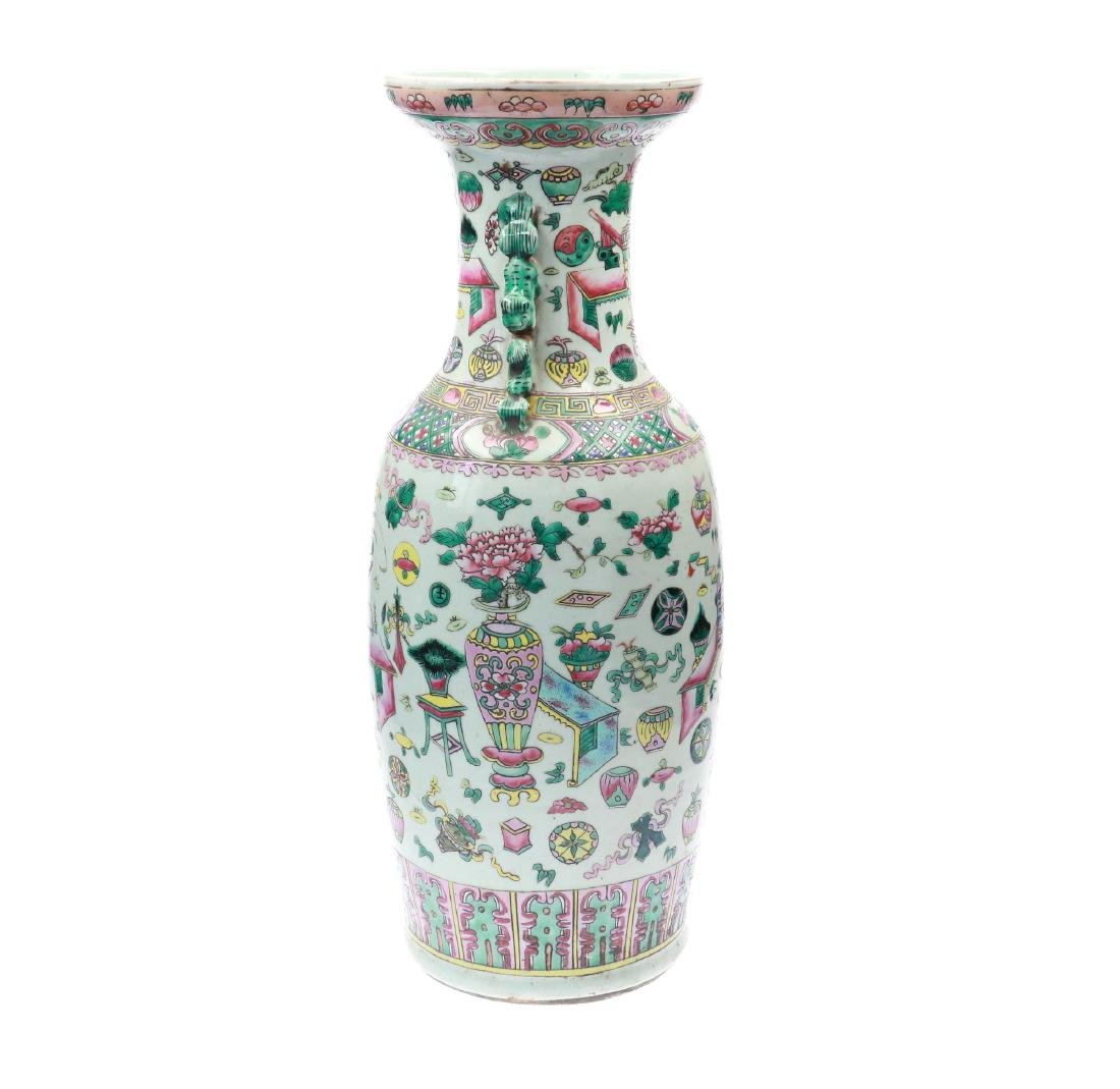 A polychrome porcelain vase, decorated with - 3