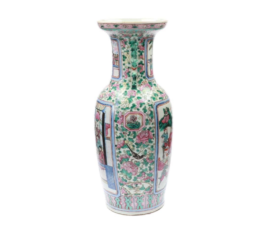 A polychrome porcelain vase, decorated with figures and - 3