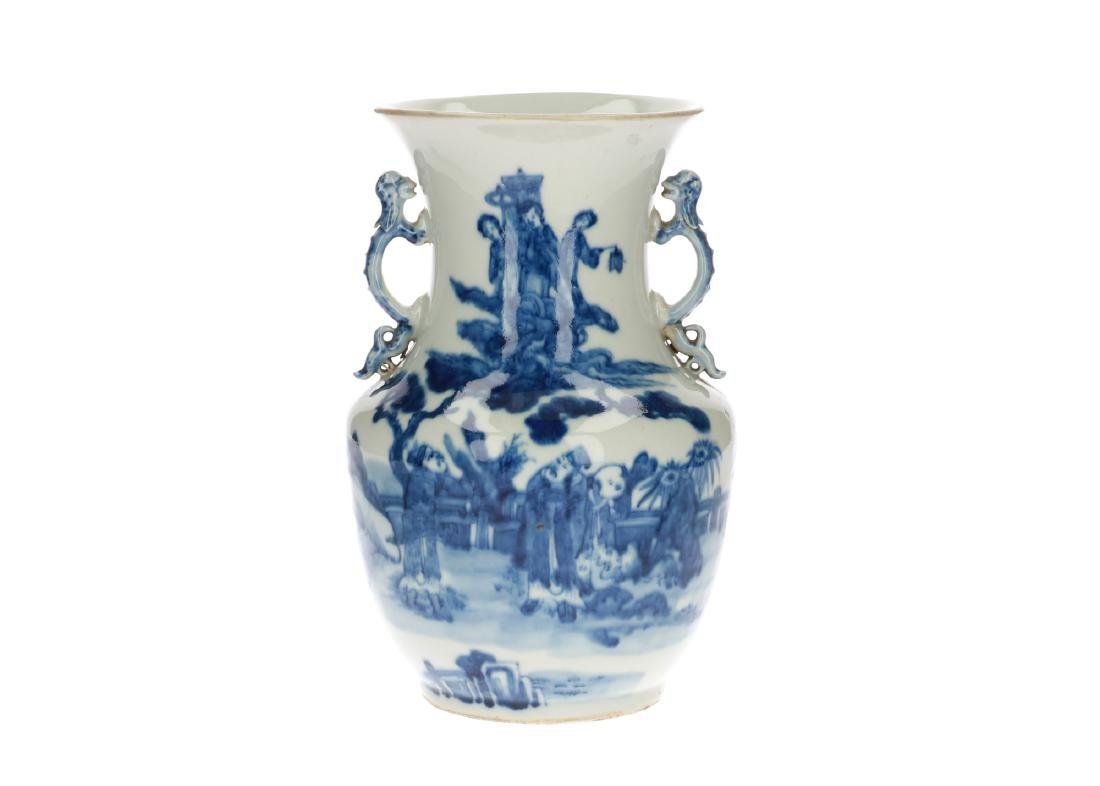 A blue and white porcelain vase, decorated with