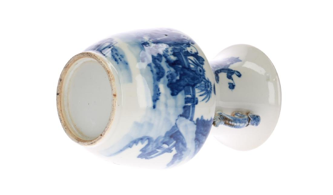 A blue and white porcelain vase, decorated with - 5