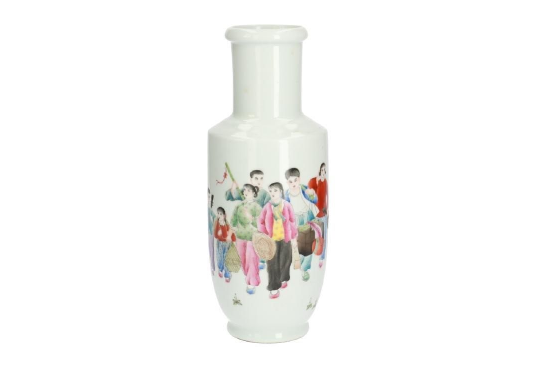A polychrome porcelain rouleau vase with a decor of