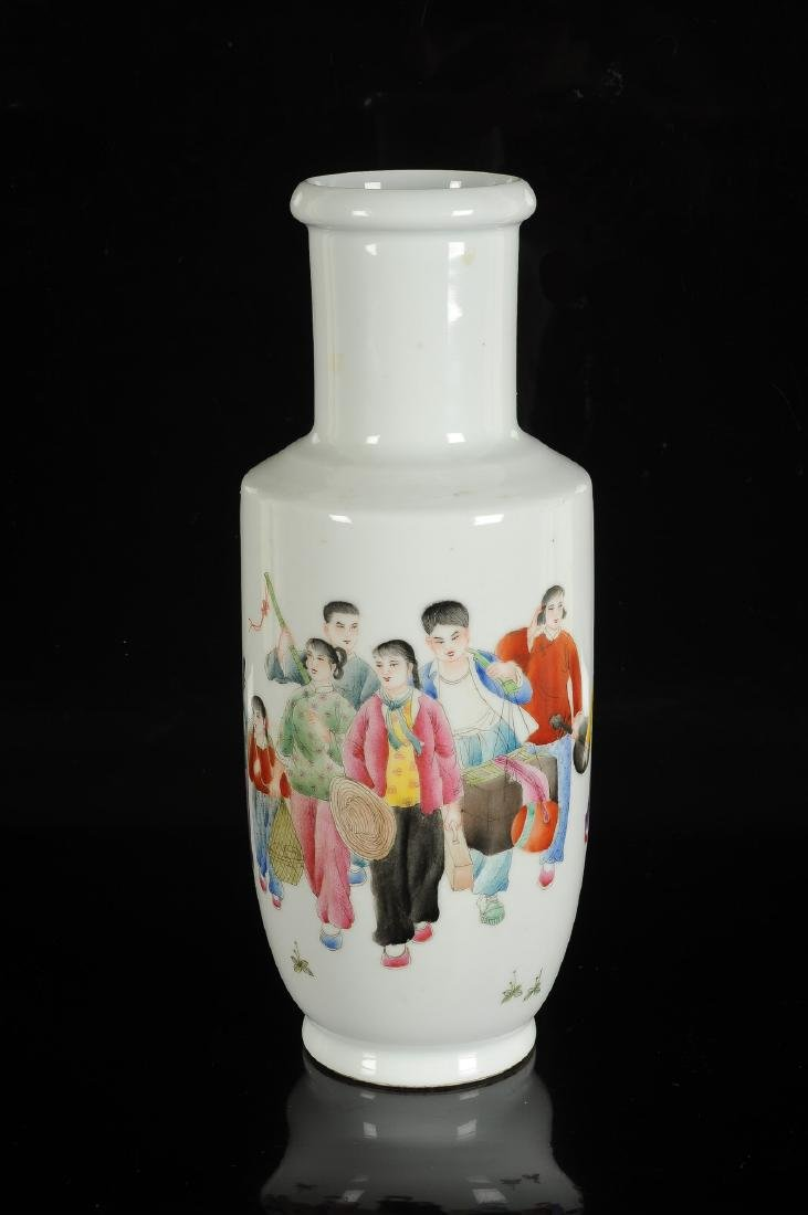 A polychrome porcelain rouleau vase with a decor of - 3