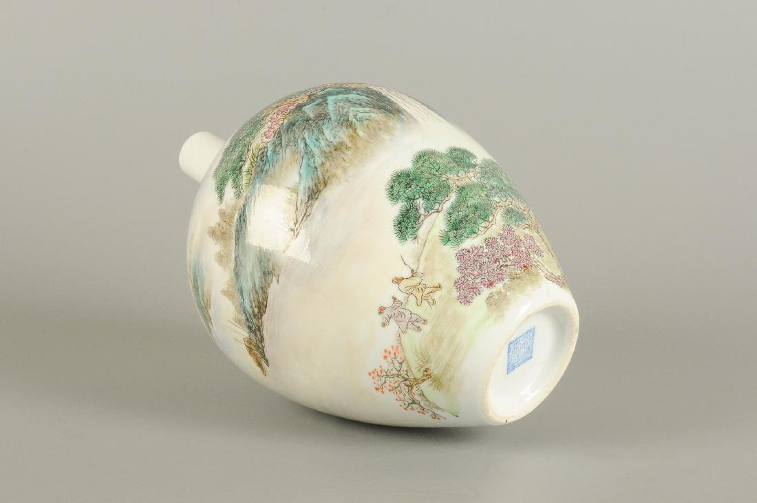 A polychrome porcelain vase, decorated with a - 2