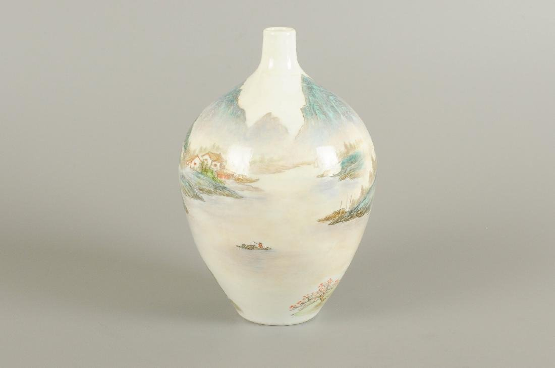 A polychrome porcelain vase, decorated with a - 4