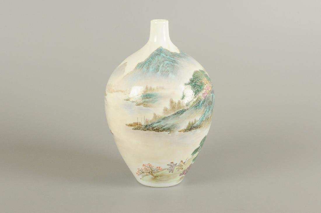 A polychrome porcelain vase, decorated with a - 5