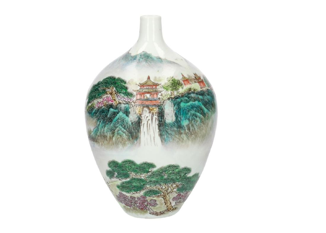 A polychrome porcelain vase, decorated with a - 6