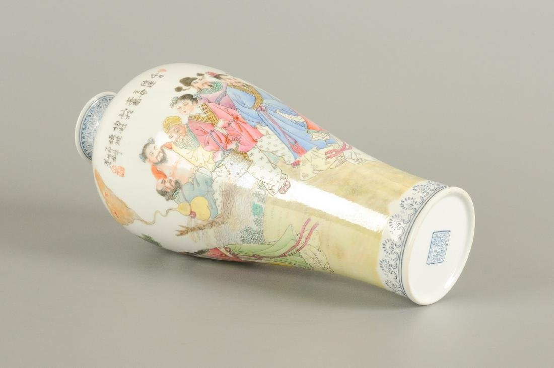 A polychrome eggshell porcelain vase, decorated with - 2
