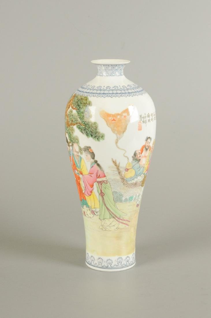 A polychrome eggshell porcelain vase, decorated with - 3