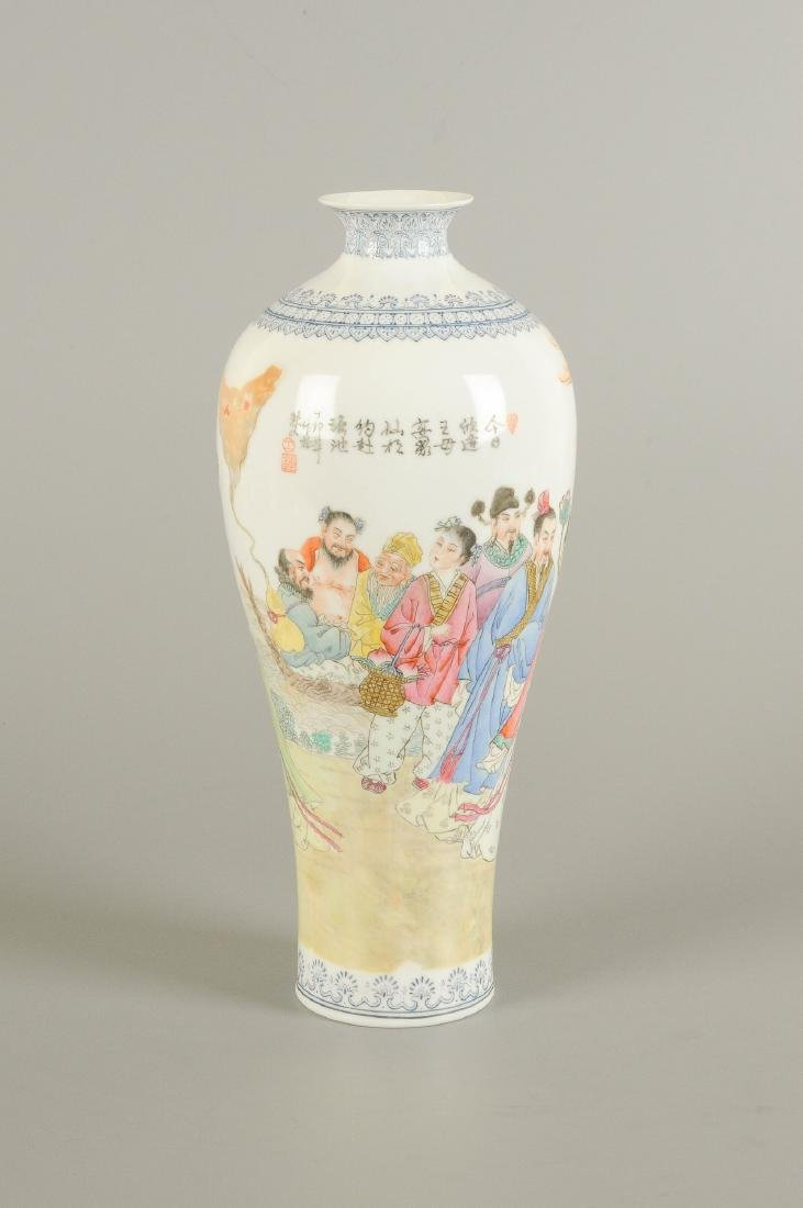 A polychrome eggshell porcelain vase, decorated with - 4