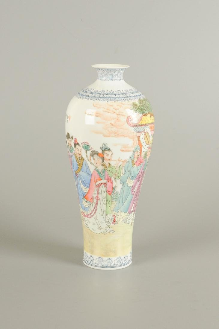 A polychrome eggshell porcelain vase, decorated with - 5