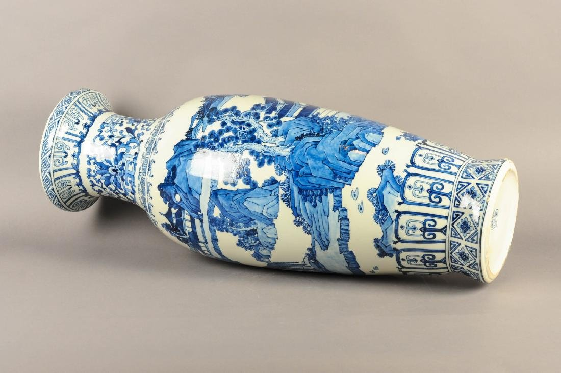 A large blue and white porcelain vase, decorated with a - 3