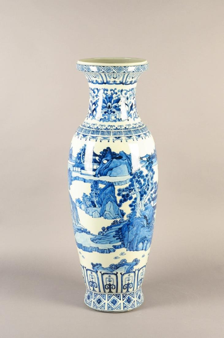 A large blue and white porcelain vase, decorated with a - 4