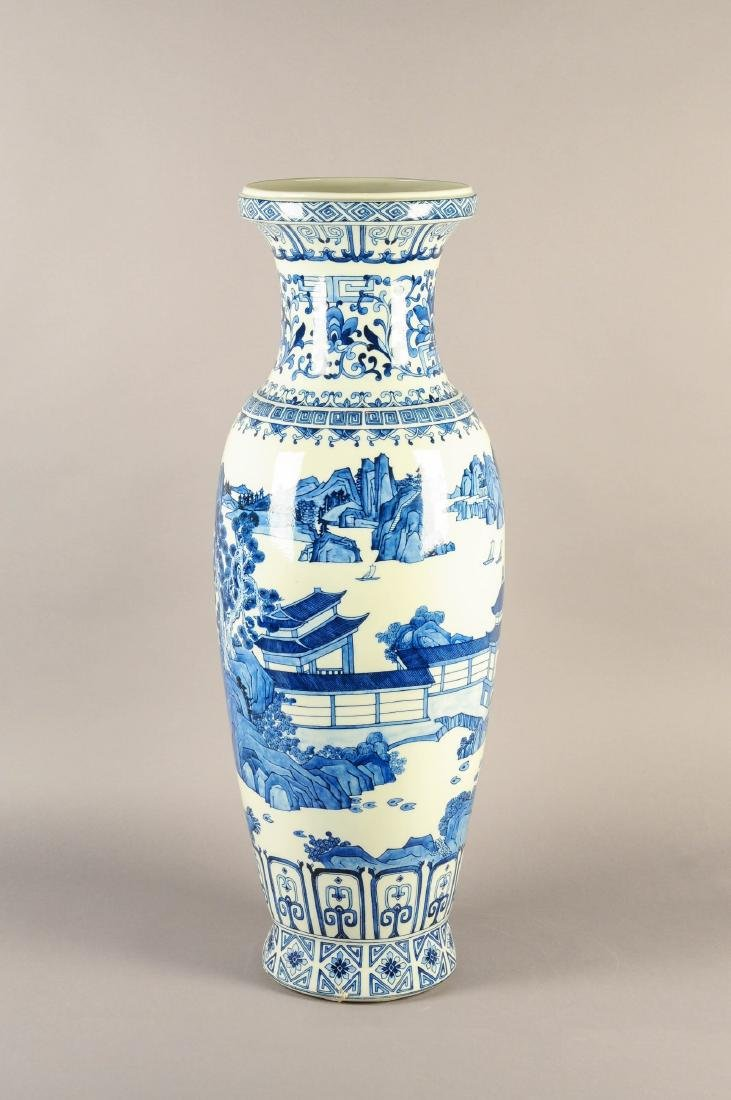 A large blue and white porcelain vase, decorated with a - 5