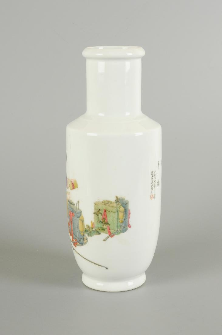 A polychrome porcelain vase, decorated with a figure - 3