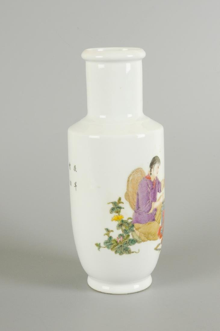 A polychrome porcelain vase, decorated with a figure - 5