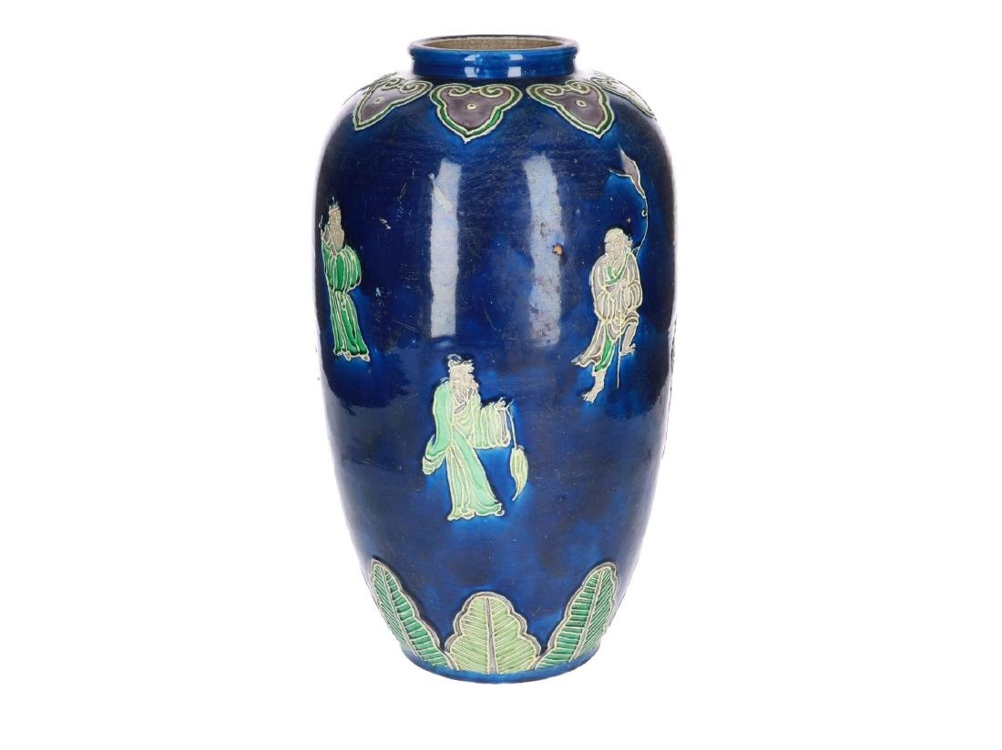 A polychrome porcelain Fahua vase, decorated with