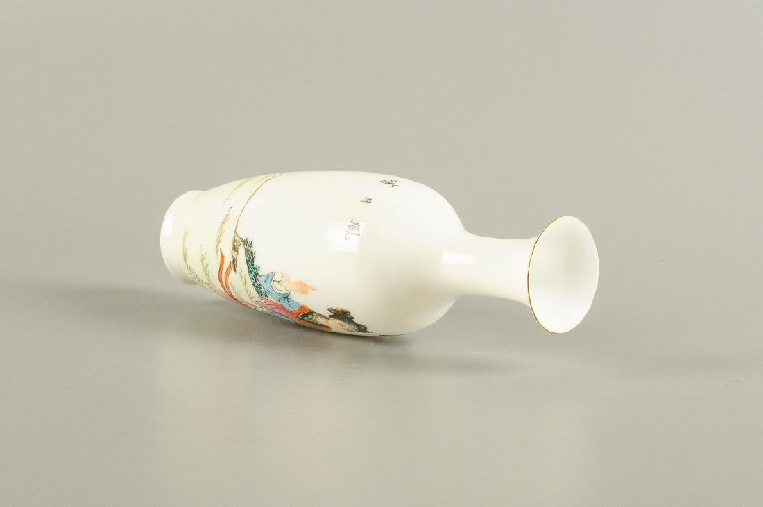 A polychrome eggshell porcelain vase, decorated with