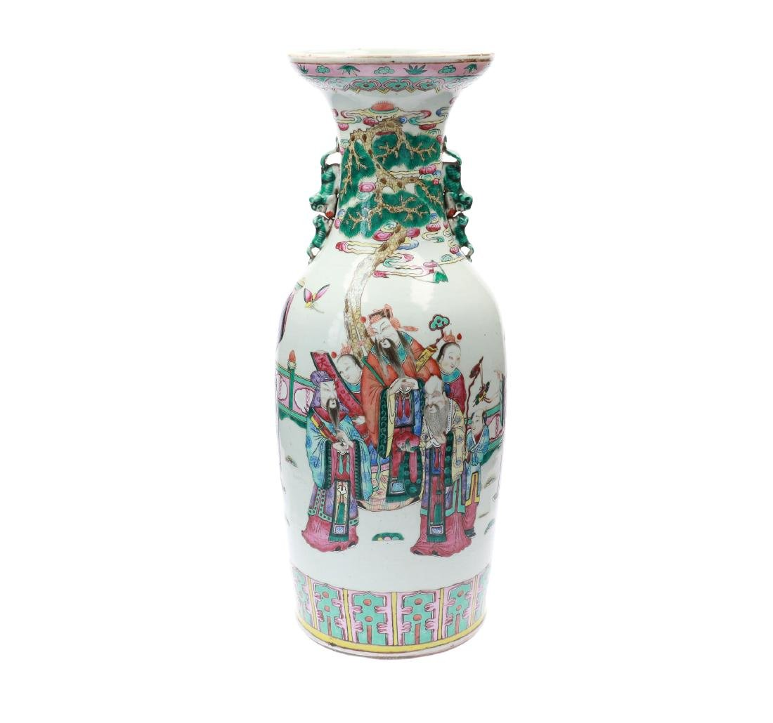 A lot of two polychrome porcelain vases, decorated with - 2