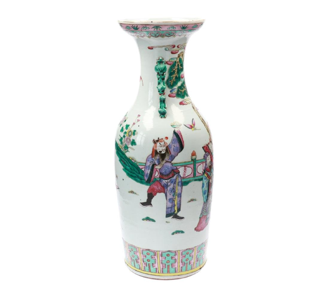 A lot of two polychrome porcelain vases, decorated with - 5
