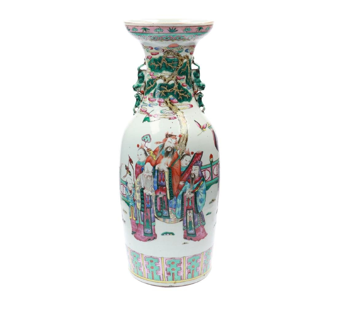 A lot of two polychrome porcelain vases, decorated with - 8