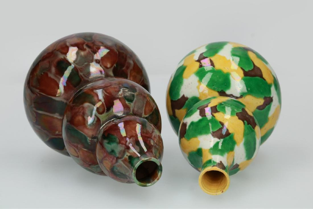 A lot of two polychrome porcelain vases, one with - 2