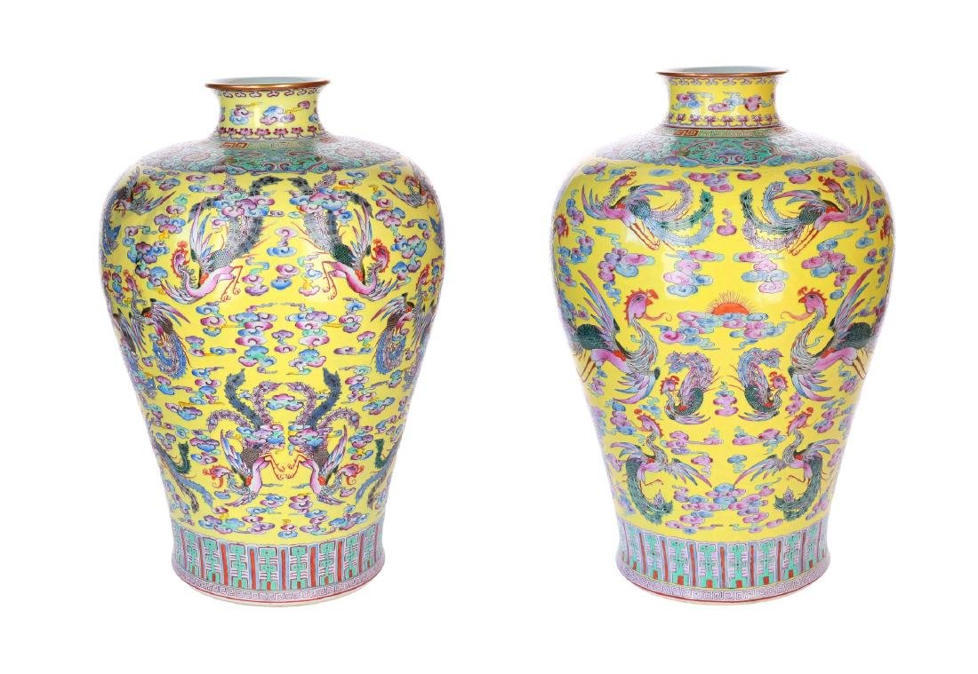 A lot of two polychrome Meiping vases, decorated with