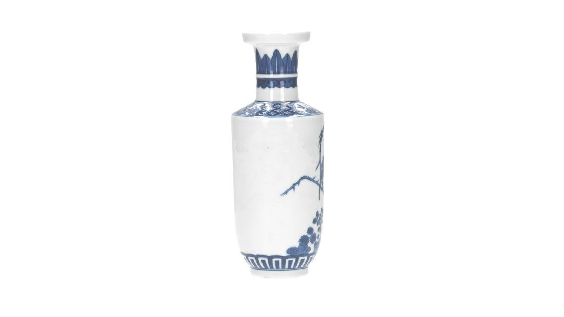 A lot of three blue and white porcelain vases, - 2