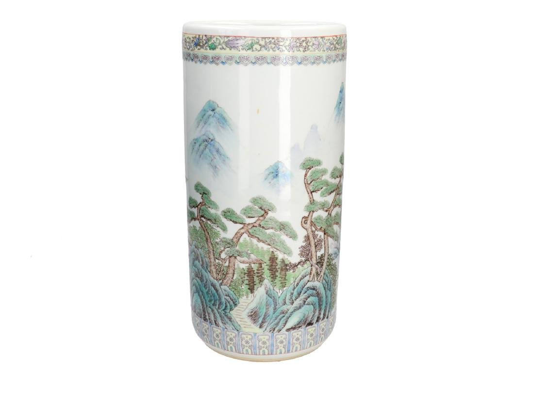 A polychrome porcelain vase, decorated with a