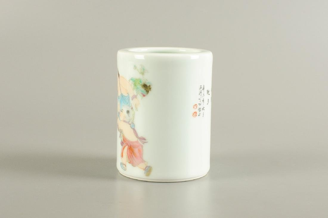 A polychrome porcelain brush pot, decorated with - 2