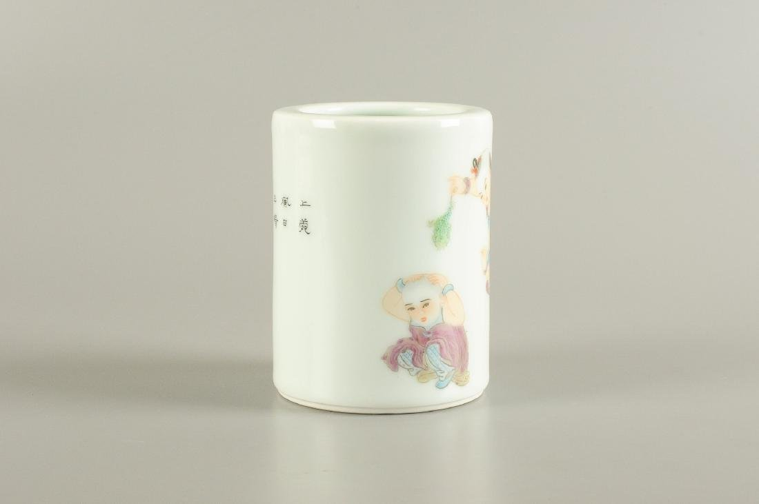 A polychrome porcelain brush pot, decorated with - 4