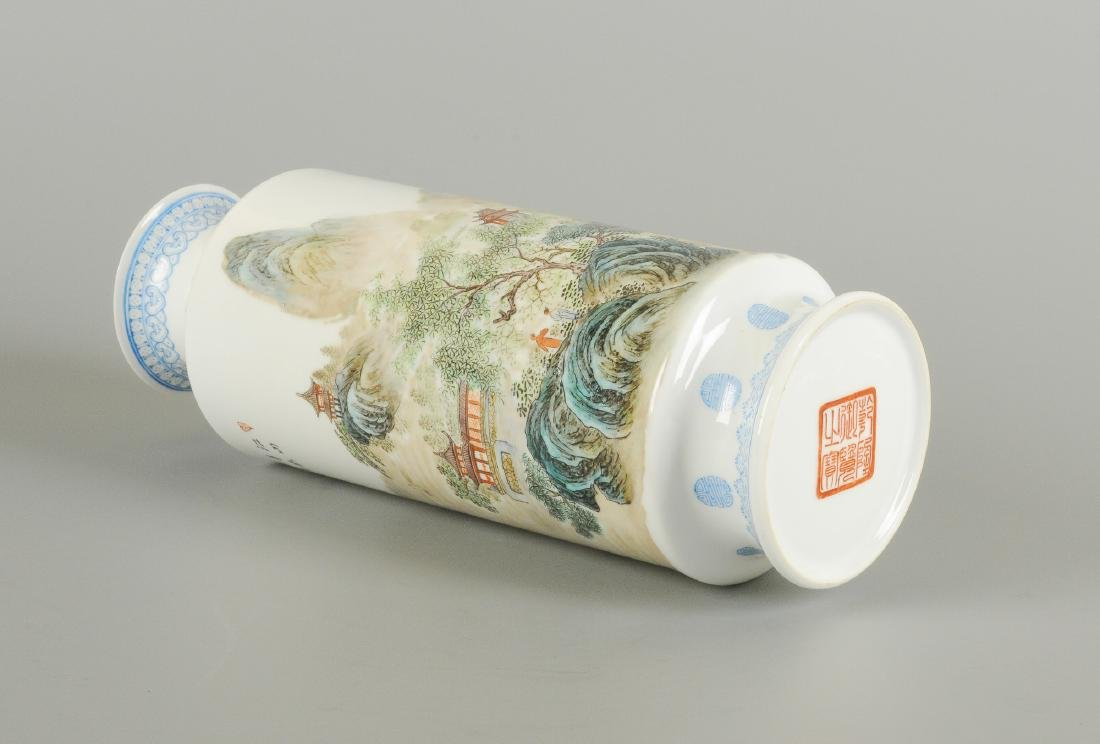 A polychrome porcelain eggshell vase, decorated with - 2