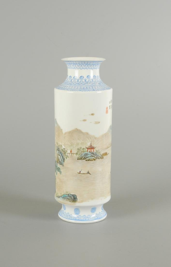 A polychrome porcelain eggshell vase, decorated with - 3