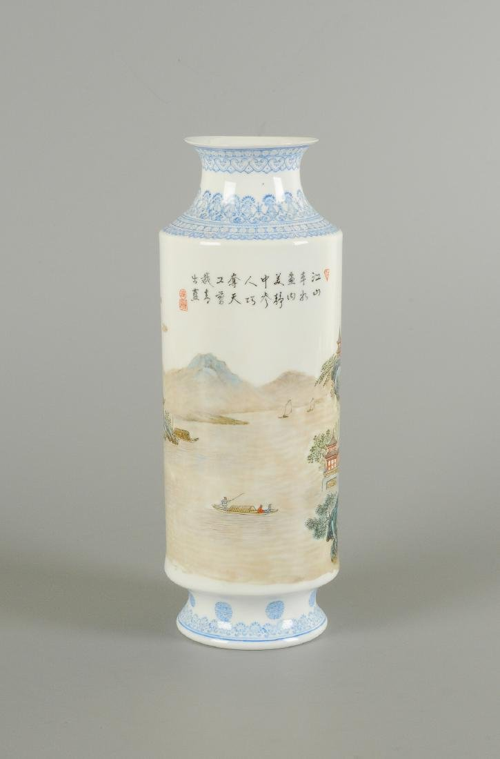 A polychrome porcelain eggshell vase, decorated with - 4