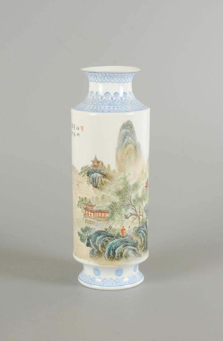 A polychrome porcelain eggshell vase, decorated with - 5