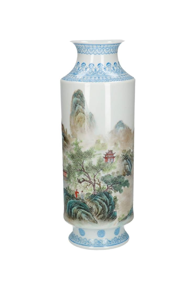 A polychrome porcelain eggshell vase, decorated with - 6