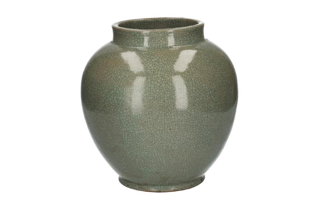 A celadon glazed vase. Unmarked. China, 20th century. - 2