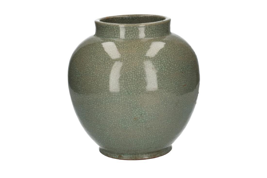 A celadon glazed vase. Unmarked. China, 20th century. - 3